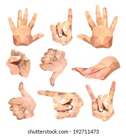 Set of polygonal hand gesture isolated on white background