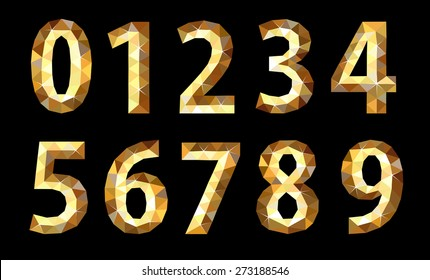 set polygonal low poly numbers gold glitter expensive
