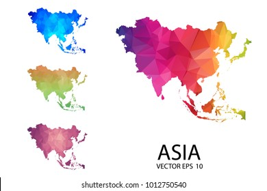 Set of Polygonal Map blank on white Background - Asia Map of isolated. Vector Illustration eps 10.