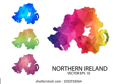 Set of Polygonal Map Blank on White Background - Northern Ireland map of isolated. Vector Illustration eps10.