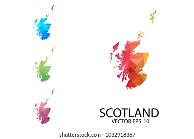 Set of Polygonal Map Blank on White Background - Scotland map of isolated. Vector Illustration eps10.