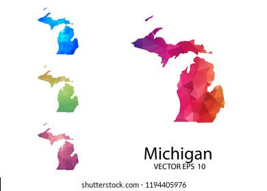 Set of Polygonal Map blank on white Background - Michigan map of isolated. Vector Illustration Eps10.