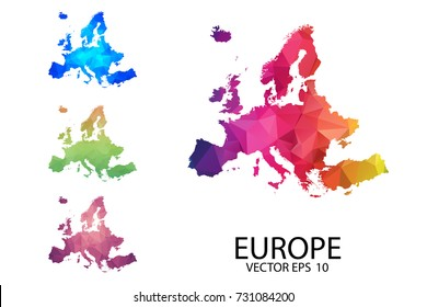 Set of Polygonal Map Blank on White Background - Europe map of isolated. Vector Illustration eps10.