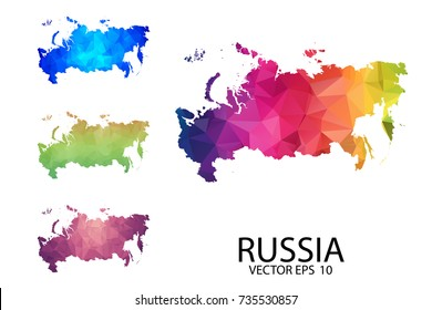 Set of Polygonal Map blank on white Background - Russia Map of isolated. Vector Illustration eps 10.