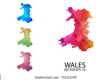 Set of Polygonal Map blank on white Background - Wales map of isolated. Vector Illustration Eps10.