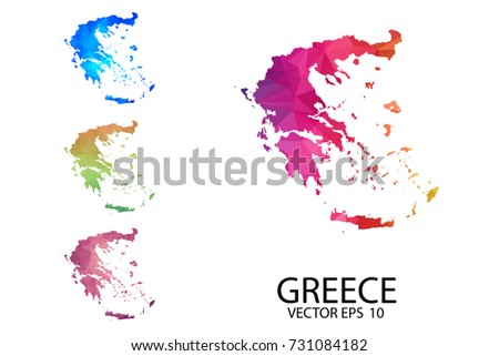 Greece Map Blank.Set Polygonal Map Blank On White Stock Vector Royalty Free