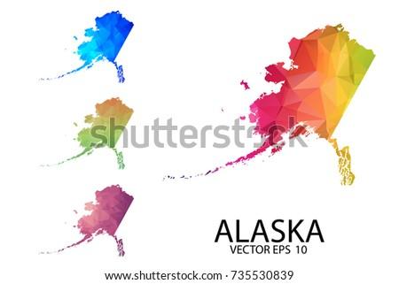 Blank Alaska Map.Set Polygonal Map Blank On White Stock Vector Royalty Free