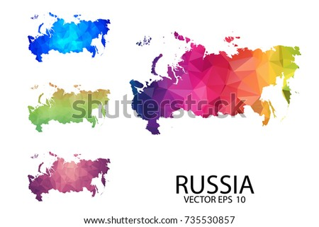 Set Polygonal Map Blank On White Stock Vector Royalty Free