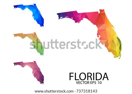 Florida Map Blank.Set Polygonal Map Blank On White Stock Vector Royalty Free