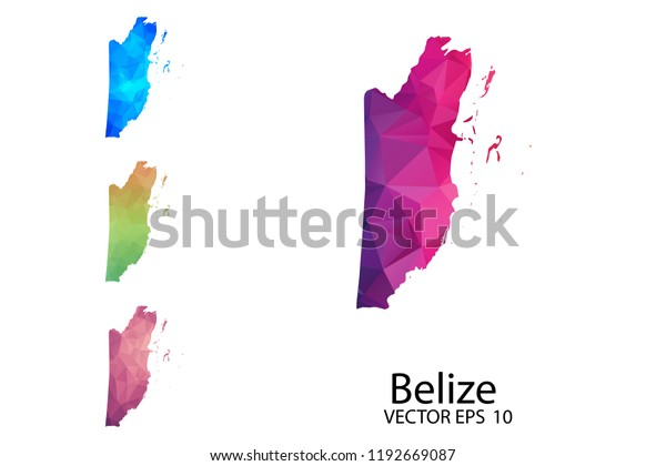 Set Polygonal Map Blank On White Stock Vector (Royalty Free ...