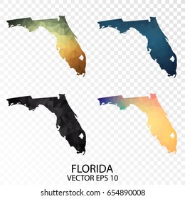 Set of Polygonal Map - Low Poly Map of Florida.