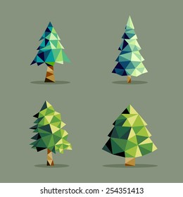 Set of polygonal origami pine tree icon illustration. Ideal for web icon, ecology brochure and botany book cover. EPS10 vector file.