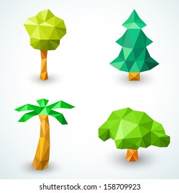 Set Of Polygonal Origami Tree Icons Vector Illustration For Green Nature Design Christmas
