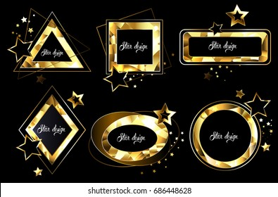 Set of polygonal, shiny, gold banners of different shapes.