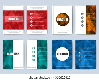 Set of polygonal vector design template layout for magazine poster, flyer, brochure