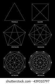 Set of polyhedrons, illustration on black background, vector