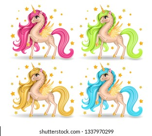 Set of Pony Unicorn Collection, Big Eyes and Multicolored Long Hair (Mane, Tail), Golden Horn, Stars, Hooves, Feather Yellow Wings, Cartoon Character Hand Drawn, Realistic Vector 3D Illustration