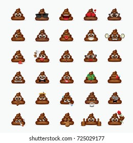 Set of poo emoticon, emoji - poop face - vector illustration