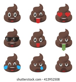 Set of poo icons. Shit emoticons. Poop emoji faces isolated.