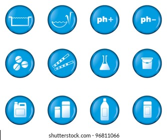 Set of pool and garden pond chemicals icons. Glossy blue buttons.