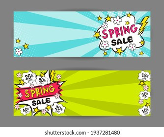 Set of pop art Bright banners for discounts or spring sales. Cartoon Explosion, clouds, Sakura flowers. Template for web design, banners, coupons, applications and posters. Vector illustration.