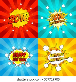 Set of pop art comic happy new year vector illustration. Decorative set of backgrounds for happy new year with bomb explosive.