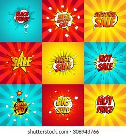 Set of pop art comic sale discount promotion vector illustration. Decorative set of backgrounds with bomb explosive.