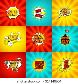 Set of pop art comic sale discount promotion vector illustration. Decorative set of color backgrounds with bomb explosive.