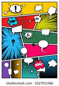Set of pop art comics book magazine cover template. Cartoon funny vintage strip comic superhero text, speech bubble, balloon, box message, burst bomb, halftone. Blank graphic. Vector illustration