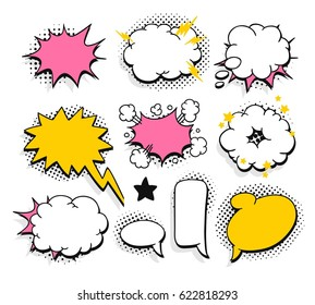 Set of pop art explosion and speech bubbles. Cartoon style vector collection. Comic illustration isolated on white background