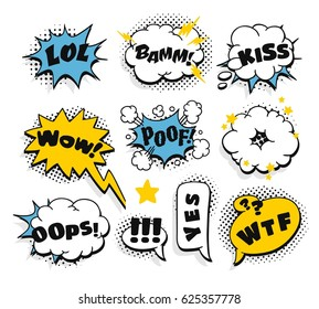 Set of pop art explosion and speech bubbles with text. Cartoon style vector collection. Comic illustration on white background