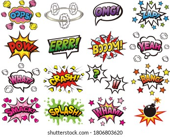Set of pop art style comic speech bubbles