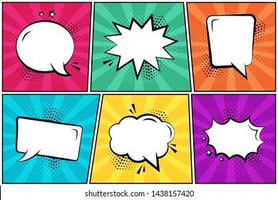Set in pop art style. White empty comic speech bubbles on colorful background. Vector illustration