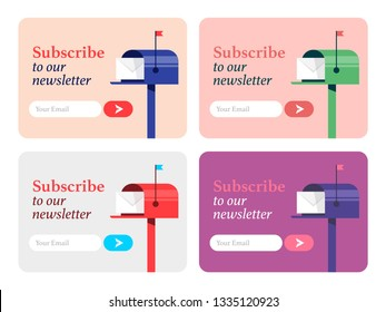 Set of pop ups for Subscribe Now form.  Subscribe For Our Newsletter Flat Style Vector Illustration UI UX Design with Text Box and Subscribe Button Template
