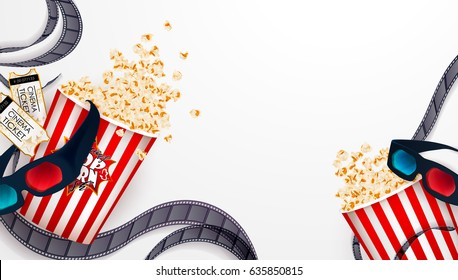 Set of popcorn, 3d glasses, cinematograph tape, cinema ticket. Drawn vector illustration, realistic cinematography design, vintage colorful background, art for online cinema, movie, film, theater,..