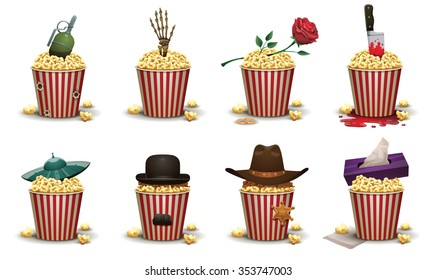 Set of popcorn basket with different elements of type of movies. Vester with cowboy hat and sheriff star. Romantic - rose. Drama - napkin box. Horror - skeleton hand. Sci fi - ufo. ets. Vector.