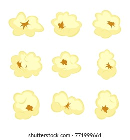 Set of popcorn elements isolated on white background. Food cinema movie film vector illustration.