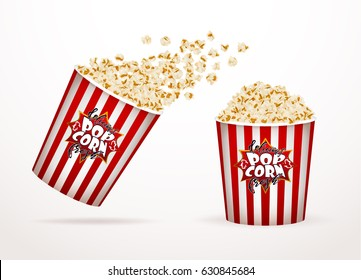 Set of popcorn, isolated on white. Drawn vector illustration, realistic popcorn background for cinema, movie, film, food, theater,.. design.