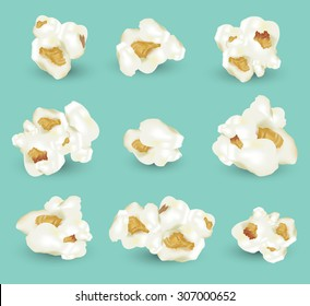 Set of popcorn. vector