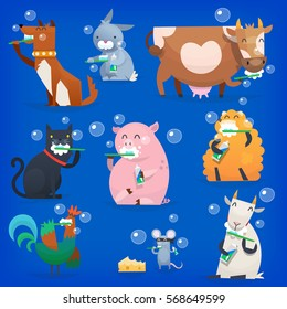 Set of popular colorful vector farm animals and birds cleaning teeth with tooth brush and paste