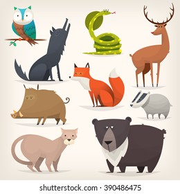 Set of popular colorful vector forest animals and birds