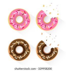 Set of popular donuts. Whole and bitten version. Flat design vector illustration isolated on white background.