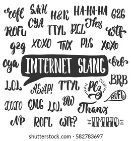 Set of popular internet slang, acronyms and abbreviations isolated on the white background