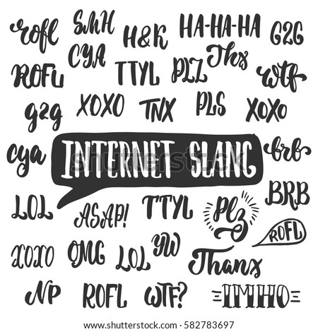 set popular internet slang acronyms abbreviations stock vector