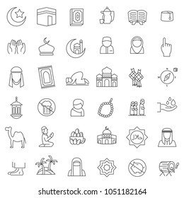 set of popular islamic icon with thin line style, use for islamic event or pictogram assets, ramadhan kareem, ied mubarak