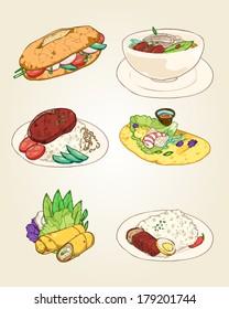 set of popular vietnamese food