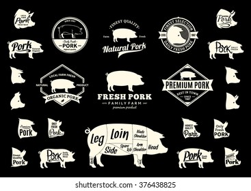 Set of pork logo. Pork cuts diagram