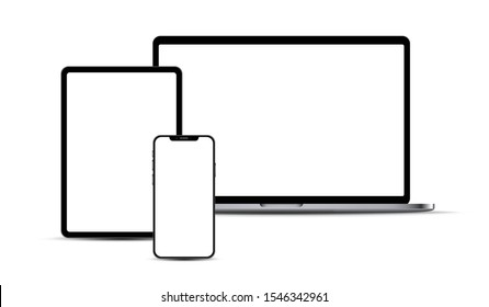 Set of portable electronic devices: smartphone, tablet, laptop, with blank checkered transparent screens.  Vector illustration.