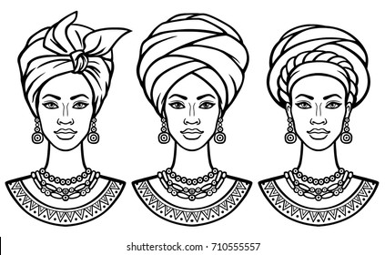 Set of portraits  the African women in various turbans. Monochrome linear drawing. Vector illustration isolated on a white background.