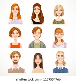 Set of portraits of avatars of cute different women and men isolated on a white background
